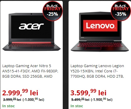 laptopuri de gaming la reducere de Black Friday 2017